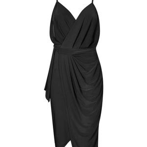 Boohoo Night Black Wrap Dress